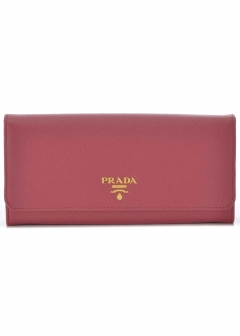 PRADA - Wallet Collection - - SAFFIANO METAL ORO / PASSケース付き WALLET 【PEONIA】