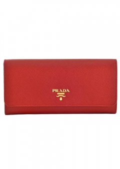 PRADA - Wallet Collection - - SAFFIANO METAL ORO / PASSケース付き WALLET 【FUOCO】