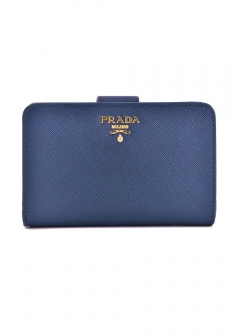 PRADA - Wallet Collection - - 二つ折り財布 / SAFFIANO METAL ORO 【BLUETTE】