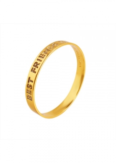 Clear/ Gold パヴェ バングル Idiom Bangles 「Best Friends Ever」