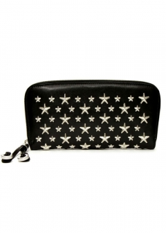 JIMMY CHOO - FILIPA ラウンドジップ長財布 / CALF LEATHER WITH STARS 【BLACK】