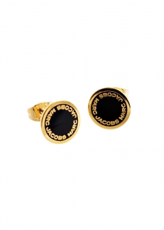 MARC JACOBS ACCESSORIES - Black/Oro Logo Disc Enamel Studs