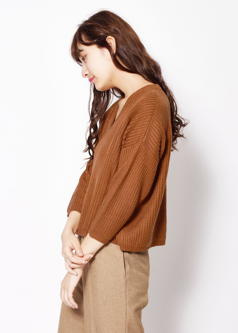 Vネックリブワイドニット|BROWN|ニット・セーター|URBAN RESEARCH warehouse Tops&Outer|最大80%OFF