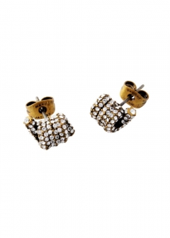Crystal/Antique Gold パヴェ ツイスト ピアス Pave Twisted Studs