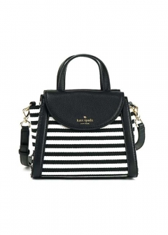 【kate spade】COBBLE HILL STRIPE SMALL ADRIEN 2WAYバッグ【Black/Cream】