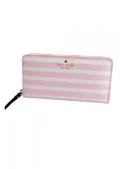 kate spade new york - 【3/8 PRICE-DOWN】Farimont Square Laceyボーダー柄 ラウンドファスナー長財布