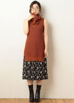 ROYAL PARTY / ROYAL PARTY LABEL / SPIRALGIRL / MIIA - 【ROYAL PARTY LABEL】スリットオーバータートルニットトップ