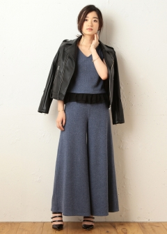 ROYAL PARTY / ROYAL PARTY LABEL / SPIRALGIRL / MIIA - 【ROYAL PARTY LABEL】ラッフルニットワイドパンツ