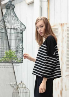 USA Cotton Border Big Tee|Black/Gray|Tシャツ|POMPADOUR|最大59%OFF