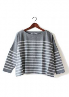 USA Cotton Border Big Tee|Black/Gray|Tシャツ・カットソー|POMPADOUR|最大59%OFF