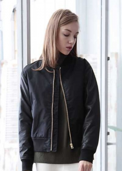 Lamb Leather Sleeve Blouson