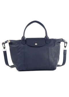 LONGCHAMP - LE PLIAGE CUIRハンドバッグ【S】【NAVY】