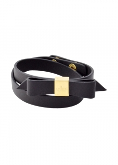 【3/8 NEW】WRAP THINGS UP leather bow wrap bracelet リボンモチーフ ダブルラップ 2連 ブレスレット