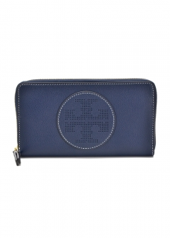 Tory Burch - ラウンドジップ長財布 / PERFORATED LOGO【ROYAL NAVY】