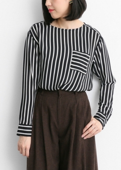 URBAN RESEARCH warehouse - Tops & Onepiece - Lirica Silk Stripe Pullover