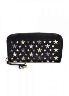 JIMMY CHOO - FILIPA ラウンドジップ長財布 / LEATHER W/MULTI METAL STARS 【BLACK+METALLIC MIX】