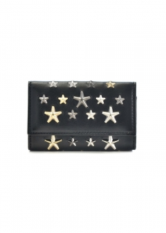 JIMMY CHOO - NEPTUNE キーケース / LEATHER W/MULTI METAL STARS 【BLACK+METALLIC MIX】