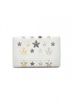 JIMMY CHOO - NEPTUNE キーケース / LEATHER W/MULTI METAL STARS 【WHITE+METALLIC MIX】
