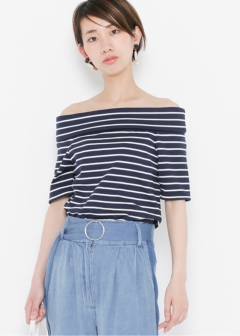 URBAN RESEARCH warehouse - Tops & Onepiece - オフショルボーダーTシャツ(5分袖)