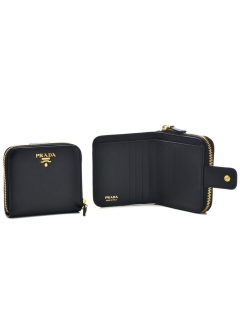 PRADA - Wallet Collection - - 【'17秋冬新作】 コンパクト財布 / SAF.METAL ORO 【NERO】