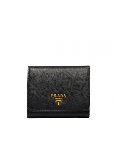 PRADA - Wallet Collection - - 【'17秋冬新作】三つ折り財布 / SAF.METAL ORO 【NERO】