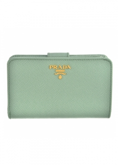 PRADA - Wallet Collection - - 二つ折り財布 / SAFFIANO METAL ORO 【ACQUAMARINA】