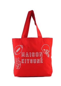 MAISON KITSUNE  - TOTE BAG FOOTBALL EMBROIDERY