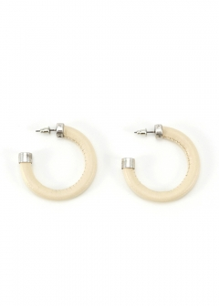 F/LEATHER HOOP EARRINGS