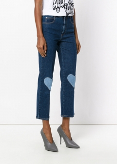 LUXURY BRAND BUYING SELECT - 【STELLA McCARTNEY】【'17秋冬新作】HIGH WAIS CROP JEANS WITH HEARTS(海外買付のため約3~4週間後のお届けです
