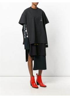 LUXURY BRAND BUYING SELECT - 【VETEMENTS】【'17秋冬新作】LAYERED PRINTED COTTON-JERSEY DRESS(海外買付のため約3~4週間後のお届けです)
