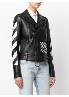 LUXURY BRAND BUYING SELECT - 【OFF-WHITE】【'17秋冬新作】BLACK LEATHER BIKER(海外買付のため約3~4週間後のお届けです)