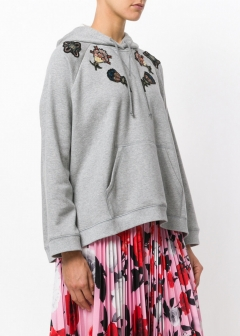 LUXURY BRAND BUYING SELECT - VALENTINO -  - 【VALENTINO】【'17秋冬新作】EMBROIDERED COTTON HOODIE(海外買付のため約3~4週間後のお届けです)