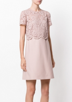 LUXURY BRAND BUYING SELECT - VALENTINO -  - 【VALENTINO】【'17秋冬新作】WOOL AND SILK DRESS WITH LACE(海外買付のため約3~4週間後のお届けです)