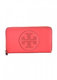 Tory Burch - ラウンドジップ長財布 / Perforated Logo Zip Continental Wallet 【RED GINGER】