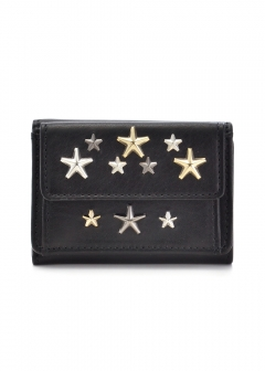NEMO 三つ折り財布 / LEATHER WITH MULTI METAL STARS 【BLACK+METALLIC MIX】