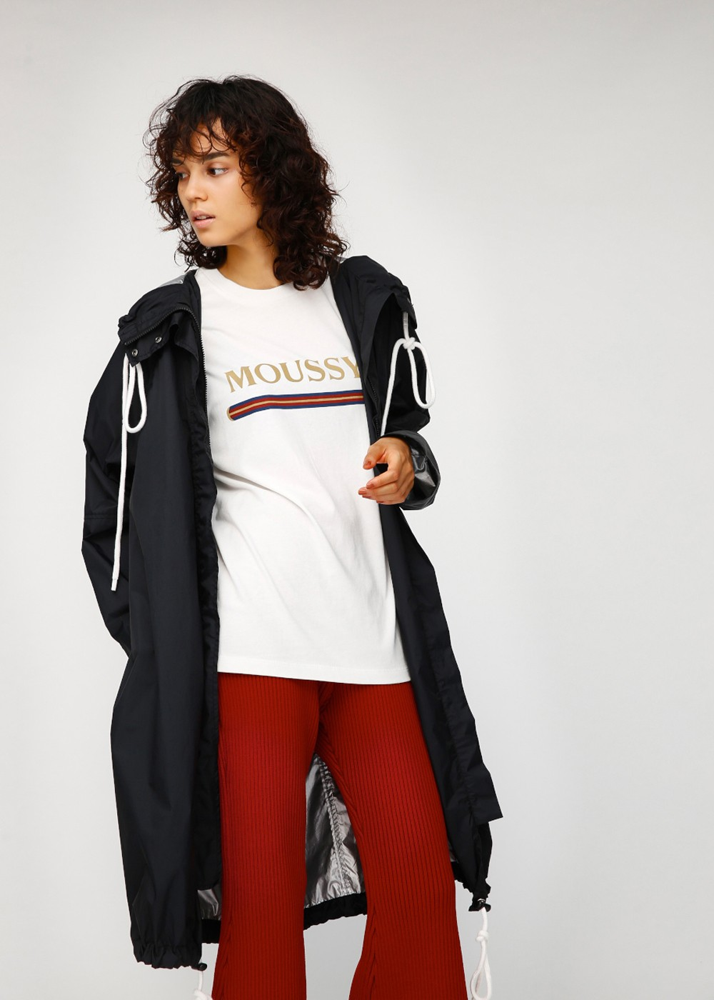 SW MIRROR WRITING COAT|BLK|その他コート|moussy|最大50%OFF