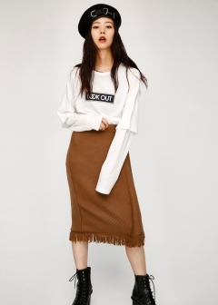 FRINGE KNIT SKIRT
