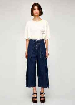 FRONT TIE WIDE DENIM PANTS