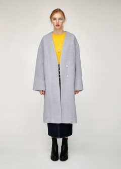 FUZZY WOOL BLEND LONG COAT