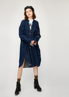 FRINGE CUFFS DENIM LONG SHIRT