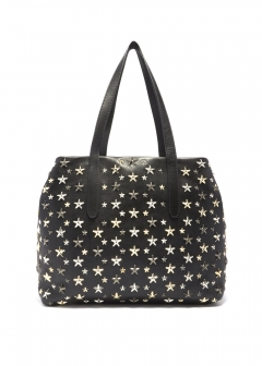 JIMMY CHOO - SOFIA M トートバッグ / LEATHER W/MULTI METAL STARS 【BLACK+METALLIC MIX】