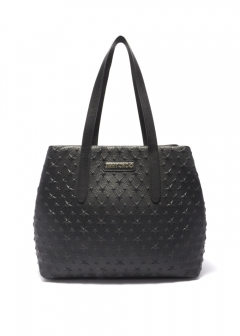 SOFIA  M  トートバッグ / EMBOSSED STARS ON GRAINY LEATHER 【BLACK】