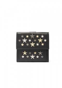 JIMMY CHOO - FRIDA ミニ財布 二つ折り / LEATHER W/MULTI METAL STARS 【BLACK+METALLIC MIX】