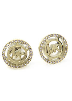 Pave Logo Gold-Tone Clip Earrings パヴェ ロゴ クリップ イヤリング