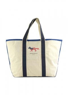 【最大35%OFF】TOTE BAG RICHELIEU XL|ECRU/NAVY|トートバッグ|MAISON KITSUNE