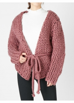 PINK - EARLY SPRING - - hand knittingバルキーカーディガン