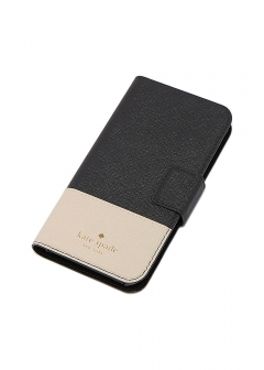 【kate spade NEW YORK】I PHONE X対応 手帳型スマホケース/LEATHER WRAP FOLIO【BLACK/TUSK】