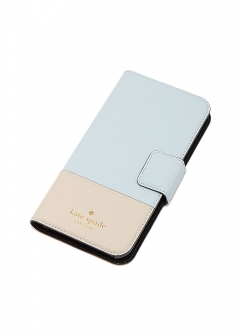 【kate spade NEW YORK】I PHONE X対応 手帳型スマホケース/LEATHER WRAP FOLIO【SHIMMER BLUE/TUSK】