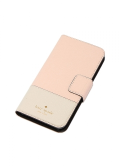 【kate spade NEW YORK】I PHONE X対応 手帳型スマホケース/LEATHER WRAP FOLIO【WARM VELLUM/TUSK】