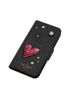 【kate spade NEW YORK】I PHONE X対応 手帳型スマホケース/FINER THINGS FOLIO【BLACK】